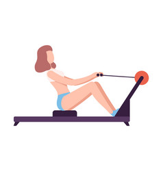 Young woman in sportswear doing seated cable row vector