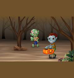 zombies walking teorrorizing in the forest vector image