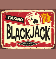 blackjack retro casino sign vector image vector image