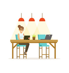 businesswoman working using a tablet in the open vector image