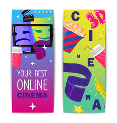 cinema two isolated vertical banners vector image