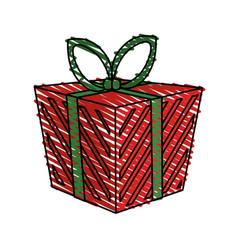 color crayon stripe cartoon christmas giftbox with vector image vector image