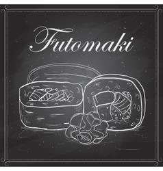Futomaki roll on a blackboard vector image vector image