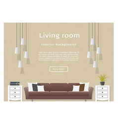 graceful living room interior banner for your web vector image