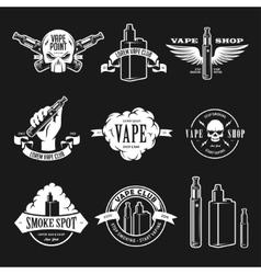 Set of vape e-cigarette emblems labels prints vector image