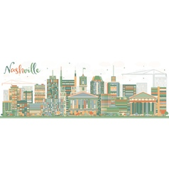 Abstract Nashville Skyline with Color Buildings vector image vector image