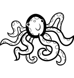 cartoon octopus for coloring book vector image
