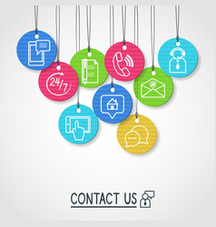 Contact us cardboard labels and tags set vector image vector image