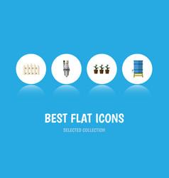 flat icon garden set of container flowerpot pump vector image vector image