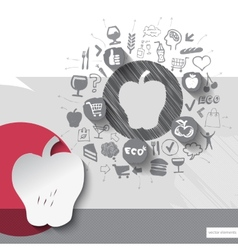 Hand drawn apple icons with food icons background vector image vector image