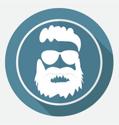 icon beard on white circle with a long shadow vector image