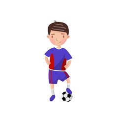 little boy playing soccer kids physical activity vector image