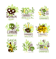 Medical cannabis colorful graphic design template vector