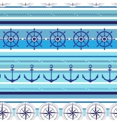 Seamless nautical blue colorful pattern vector image