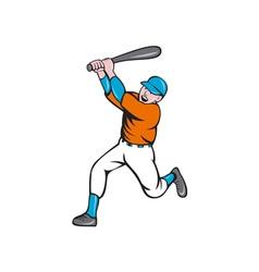 American Baseball Player Batting Homer Cartoon vector image vector image