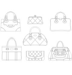 Contours of women bags vector image