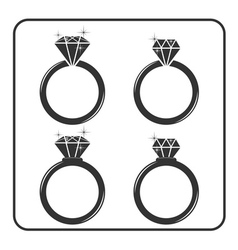 Diamond engagement ring icons set 5 vector