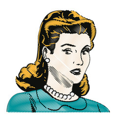 drawing blonde woman pop art angry expression vector image