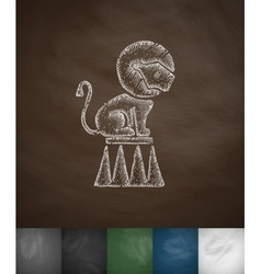lion on the trapeze icon Hand drawn vector image vector image