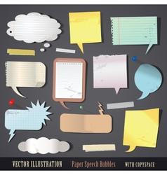 set of textured paper speech bubbles vector image vector image
