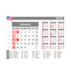 simple calendar 2018 - one year at a glance - vector image