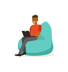 smiling man casual dressing sitting on bean bag vector image vector image