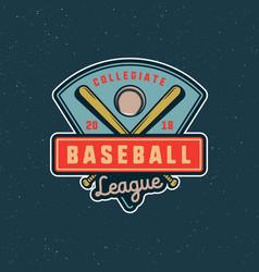 vintage baseball logo retro styled sport emblem vector image