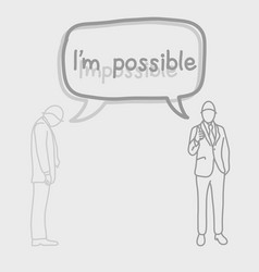 businessman with speech bubble and impossible and vector image vector image