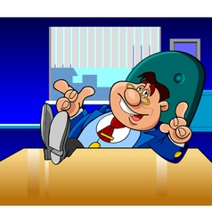cartoon male director in the office vector image vector image