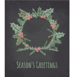 chalkboard style christmas wreath greeting card vector image