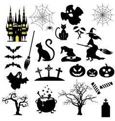 Halloween black and white icons set vector image