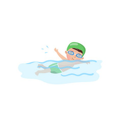 little boy swimmer in the swimming pool kids vector image