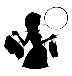 Shopping girl silhouette with empty speech bubble vector image vector image