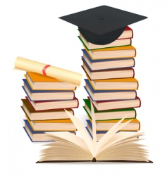 stack books and graduation cap vector image vector image