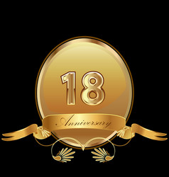 18th golden anniversary birthday seal icon vector