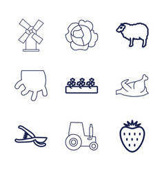 9 agriculture icons vector