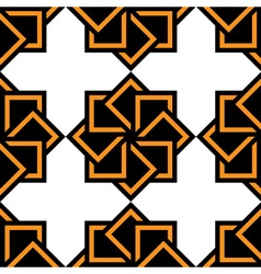 Abstract seamless pattern black white orange vector image