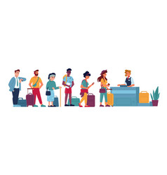 Airport queue passport control or baggage claim vector