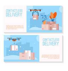 banner set contactless vector image