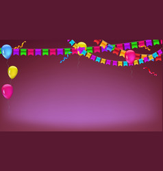 banner with garland of colour flags inflatable vector image