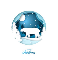 Bear in winter night forest paper cut style vector