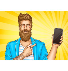 Bearded hipster with tattoos point on smartphone vector
