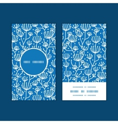 blue white lineart plants vertical round vector image