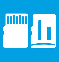 Both sides of sd memory card icon white vector
