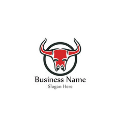 bull head horn red logo animal vector image