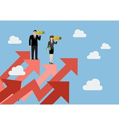 Business man and woman have a telescope standing vector