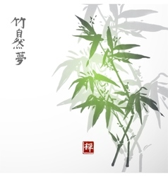 Card with bamboo on white background vector