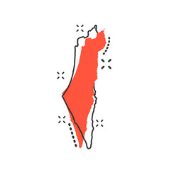 Cartoon israel map icon in comic style israel vector