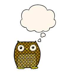 Cartoon owl and thought bubble in comic book style vector