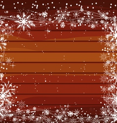 Christmas background with snowflakes on wood vector